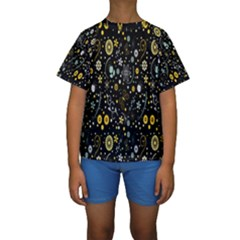 Floral And Butterfly Black Spring Kids  Short Sleeve Swimwear
