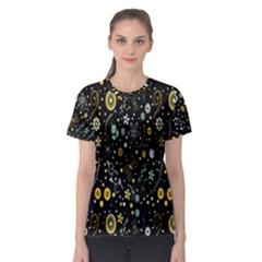 Floral And Butterfly Black Spring Women s Sport Mesh Tee