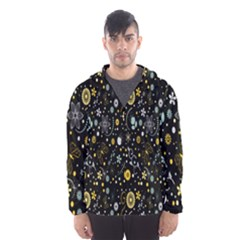 Floral And Butterfly Black Spring Hooded Wind Breaker (Men)