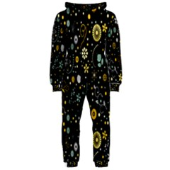 Floral And Butterfly Black Spring Hooded Jumpsuit (Ladies)