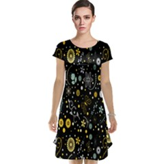 Floral And Butterfly Black Spring Cap Sleeve Nightdress