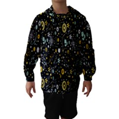 Floral And Butterfly Black Spring Hooded Wind Breaker (Kids)