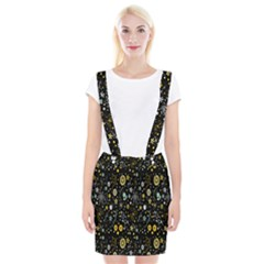 Floral And Butterfly Black Spring Suspender Skirt