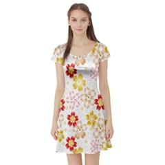 Flower Arrangements Season Rose Gold Short Sleeve Skater Dress