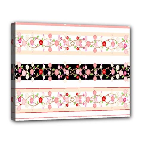Flower Arrangements Season Floral Rose Pink Black Canvas 14  x 11