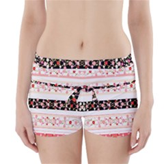 Flower Arrangements Season Floral Rose Pink Black Boyleg Bikini Wrap Bottoms