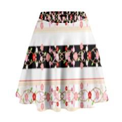 Flower Arrangements Season Floral Rose Pink Black High Waist Skirt