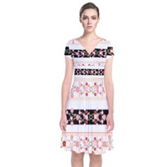 Flower Arrangements Season Floral Rose Pink Black Short Sleeve Front Wrap Dress