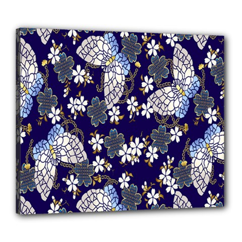 Butterfly Iron Chains Blue Purple Animals White Fly Floral Flower Canvas 24  x 20