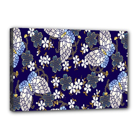 Butterfly Iron Chains Blue Purple Animals White Fly Floral Flower Canvas 18  x 12