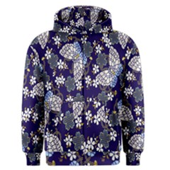 Butterfly Iron Chains Blue Purple Animals White Fly Floral Flower Men s Zipper Hoodie