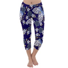 Butterfly Iron Chains Blue Purple Animals White Fly Floral Flower Capri Winter Leggings