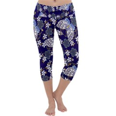 Butterfly Iron Chains Blue Purple Animals White Fly Floral Flower Capri Yoga Leggings