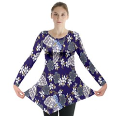 Butterfly Iron Chains Blue Purple Animals White Fly Floral Flower Long Sleeve Tunic