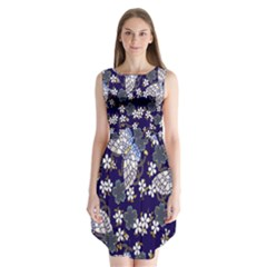 Butterfly Iron Chains Blue Purple Animals White Fly Floral Flower Sleeveless Chiffon Dress