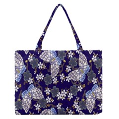 Butterfly Iron Chains Blue Purple Animals White Fly Floral Flower Medium Zipper Tote Bag
