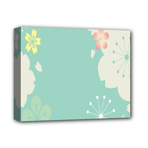 Flower Blue Pink Yellow Deluxe Canvas 14  x 11