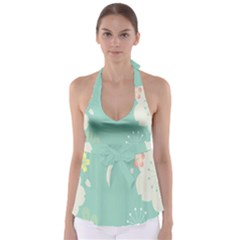 Flower Blue Pink Yellow Babydoll Tankini Top