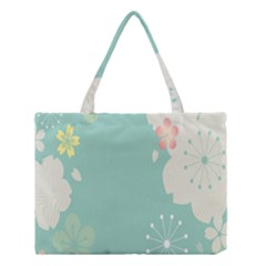 Flower Blue Pink Yellow Medium Tote Bag