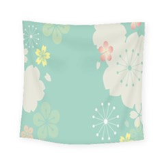 Flower Blue Pink Yellow Square Tapestry (small)