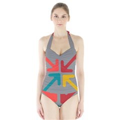 Arrows Center Inside Middle Halter Swimsuit