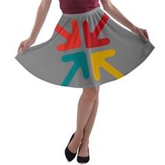 Arrows Center Inside Middle A Line Skater Skirt