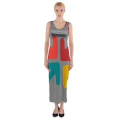 Arrows Center Inside Middle Fitted Maxi Dress