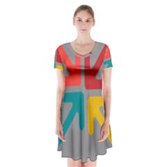 Arrows Center Inside Middle Short Sleeve V Neck Flare Dress