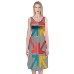 Arrows Center Inside Middle Midi Sleeveless Dress