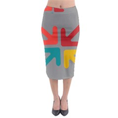 Arrows Center Inside Middle Midi Pencil Skirt
