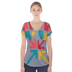 Arrows Center Inside Middle Short Sleeve Front Detail Top