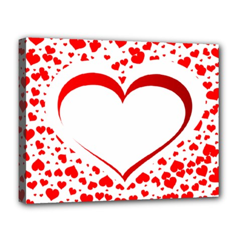 Love Red Hearth Canvas 14  X 11