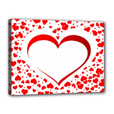 Love Red Hearth Canvas 16  X 12