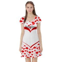 Love Red Hearth Short Sleeve Skater Dress