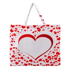 Love Red Hearth Zipper Large Tote Bag