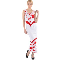 Love Red Hearth Fitted Maxi Dress