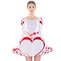 Love Red Hearth Long Sleeve Velvet Skater Dress