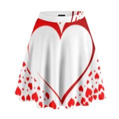 Love Red Hearth High Waist Skirt