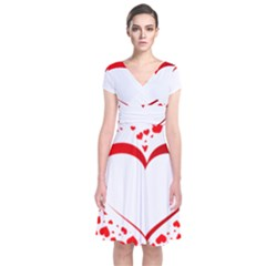 Love Red Hearth Short Sleeve Front Wrap Dress