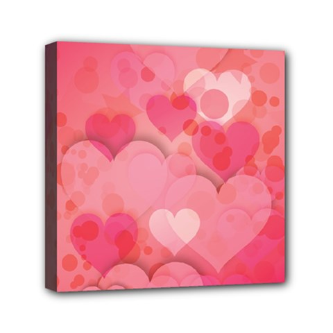 Hearts Pink Background Mini Canvas 6  X 6
