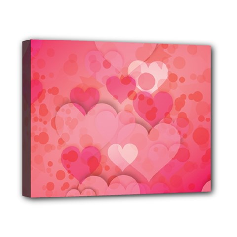 Hearts Pink Background Canvas 10  X 8
