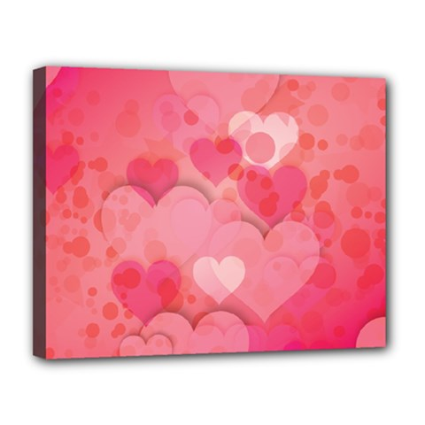 Hearts Pink Background Canvas 14  x 11