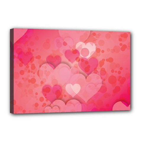 Hearts Pink Background Canvas 18  x 12