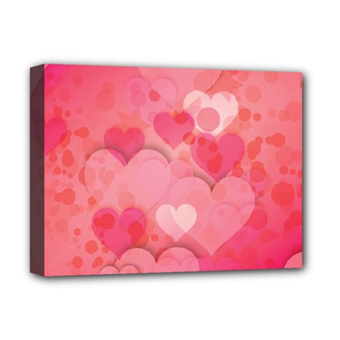Hearts Pink Background Deluxe Canvas 16  x 12