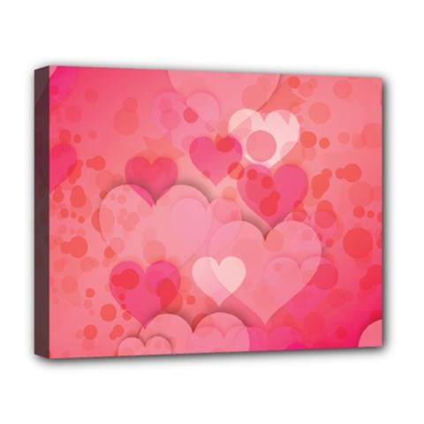 Hearts Pink Background Deluxe Canvas 20  X 16