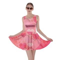 Hearts Pink Background Skater Dress