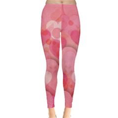 Hearts Pink Background Leggings