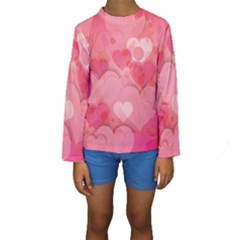 Hearts Pink Background Kids  Long Sleeve Swimwear