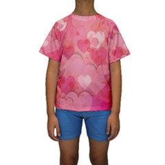 Hearts Pink Background Kids  Short Sleeve Swimwear