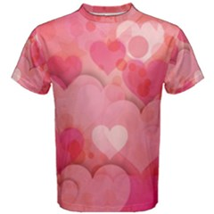 Hearts Pink Background Men s Cotton Tee